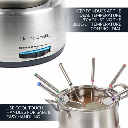 HomeCraft Electric Fondue Set - Silver Perspective: top