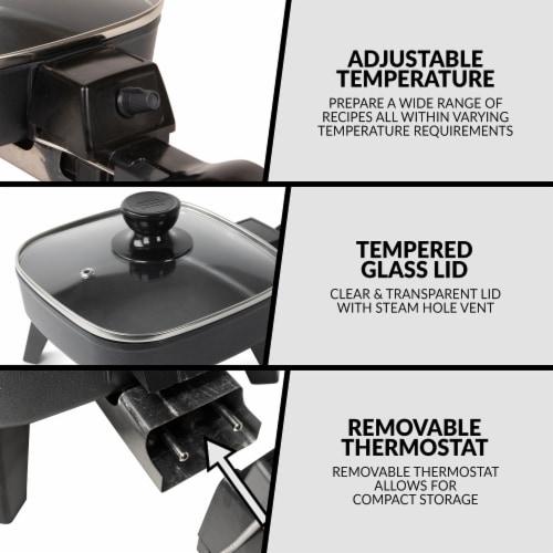 HomeCraft Electric Non-Stick Skillet - Black Perspective: top