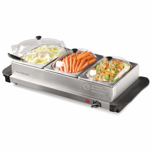 HomeCraft 3-Station Stainless Steel Buffet Server & Warming Tray Perspective: top