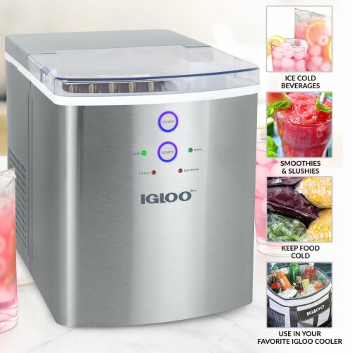 Igloo 33-Pound Stainless Steel Automatic Portable Countertop Ice Maker Machine - Silver Perspective: top