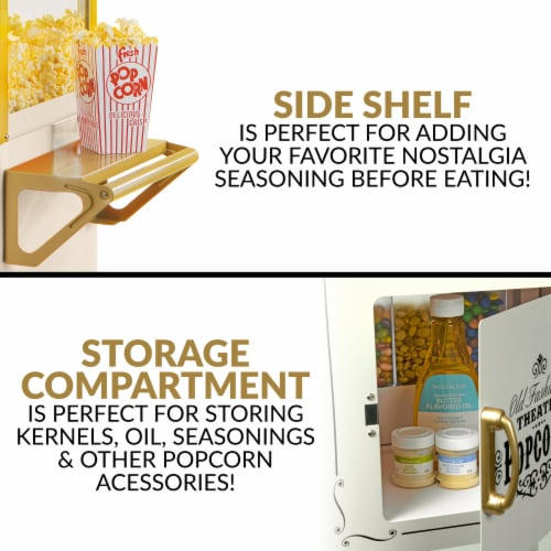 Nostalgia Candy & Snack Dispensing Popcorn Cart - Ivory Perspective: top