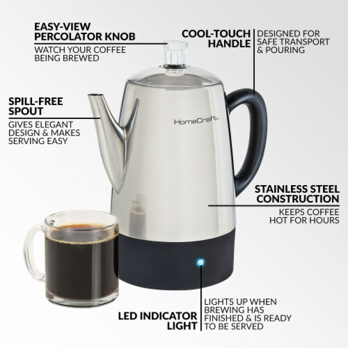 HomeCraft Stainless Steel Coffee Percolator Perspective: top