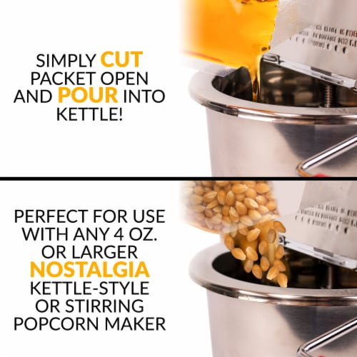 Nostalgia Premium Popcorn, Oil, and Seasoning Salt All-in-One Packs - 24 Pack Perspective: top