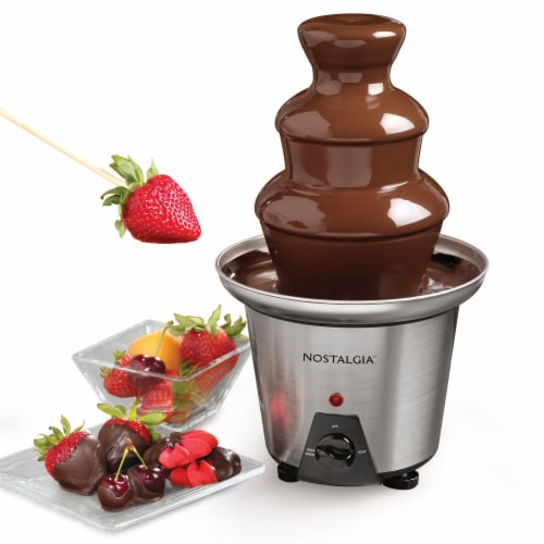 Nostalgia 3-Tier Stainless Steel Chocolate Fondue Fountain - Silver/Black Perspective: top