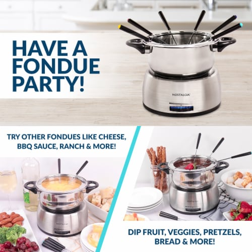 Nostalgia Stainless Steel Electric Fondue Pot - Silver Perspective: top