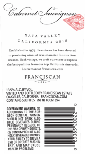 Franciscan Cabernet Sauvignon Red Wine Perspective: top