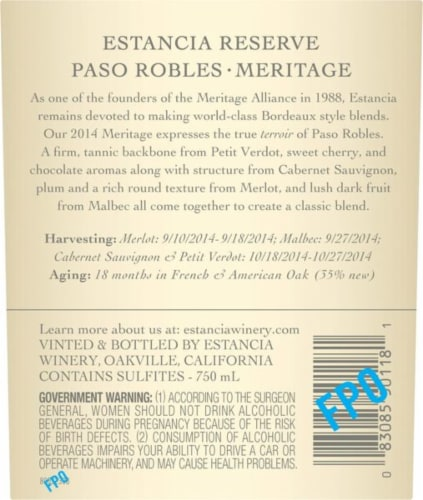 Estancia Reserve Paso Robles Meritage Red Blend Perspective: top