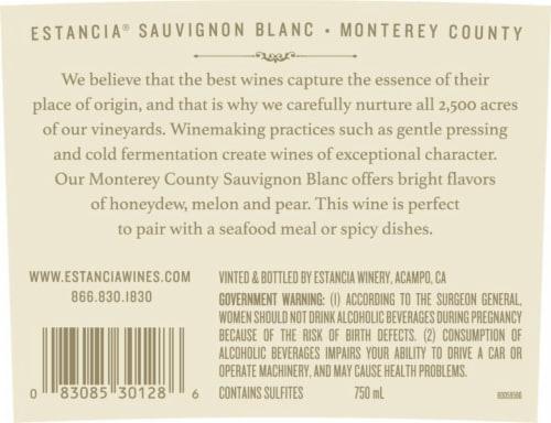 Estancia Sauvignon Blanc White Wine Perspective: top