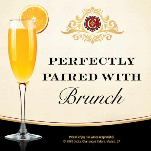 Cook's Brut White Champagne Sparkling Wine Perspective: top