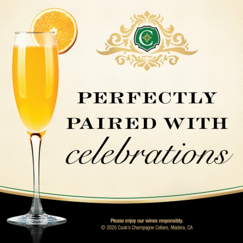 Cook's Extra Dry White Champagne Sparkling Wine Perspective: top