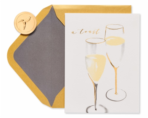 Papyrus Wedding Card for Couple (Champagne Toast) Perspective: top