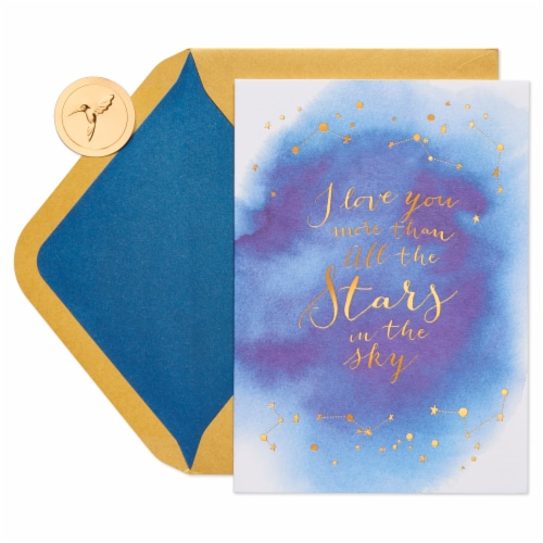 Papyrus Romantic Anniversary Card (Stars) Perspective: top