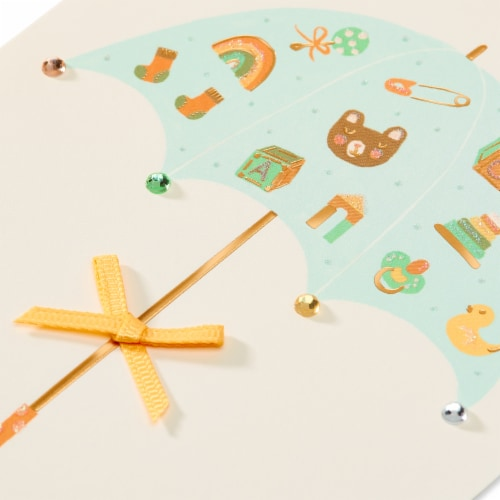 Papyrus Baby Shower Card (Umbrella) Perspective: top