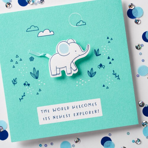American Greetings Baby Boy Card (Elephant) Perspective: top