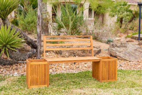 Leigh Country Sequoia Bench with Planters - Brown Perspective: top