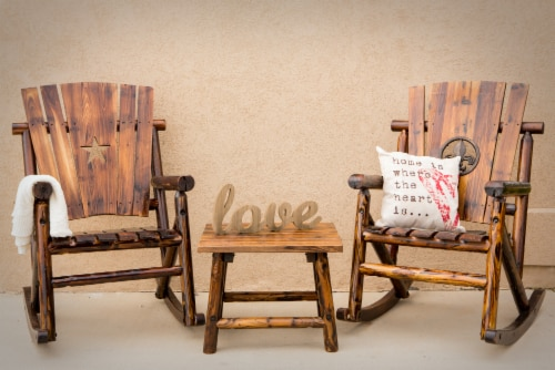 Leigh Country Char-Log Single Rocker with Star Cutout Perspective: top