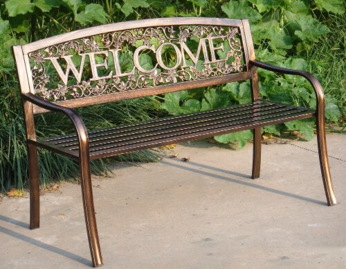 Leigh Country Metal Welcome Bench - Bronze Perspective: top