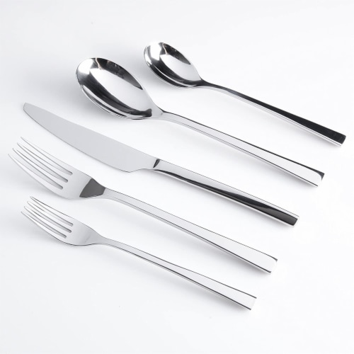 Gibson Elite Sparland Forged Stainless Steel Flatware Silverware Set, 20 Piece Perspective: top