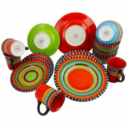 Gibson Elite 16 Piece Multi Color Glaze Dinnerware Set with Plates, Bowls & Mugs Perspective: top