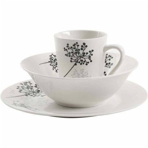 Gibson Netherwood 12 Piece Round Glaze Dinnerware Plates, Bowls, and Mugs, White Perspective: top