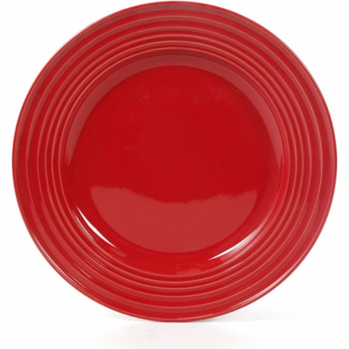 Gibson Home Plaza Cafe 12 Piece Stoneware 4 Person Dinnerware Serving Set, Red Perspective: top