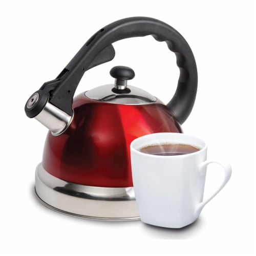 Mr Coffee 2.2 Quart Claredale Stainless Steel Stove Top Tea Pot Kettle, Red Perspective: top