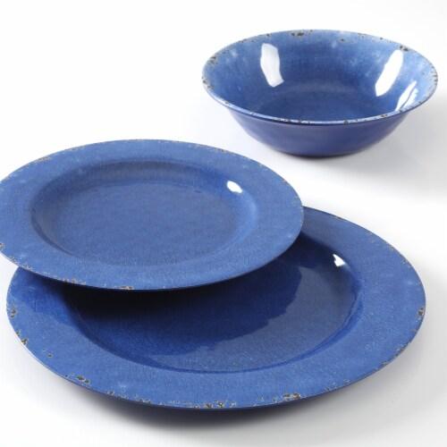 Gibson Studio California Mauna 12-Piece Durable Melamine Dinnerware Set, Blue Perspective: top