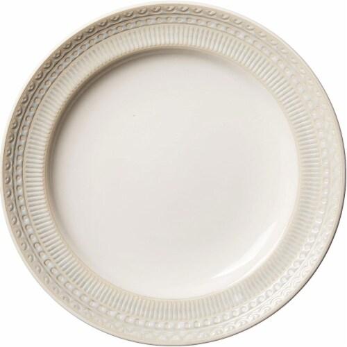 Gibson 16 Piece Reactive Glaze Dinnerware Set Plates, Bowls, and Mugs, Cream Perspective: top