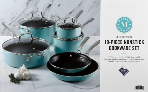 Martha Stewart Enamel Cookware Set - Martha Blue Perspective: top
