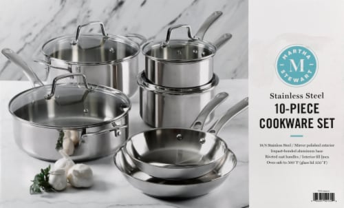 Martha Stewart Stainless Steel Cookware Set - Silver Perspective: top