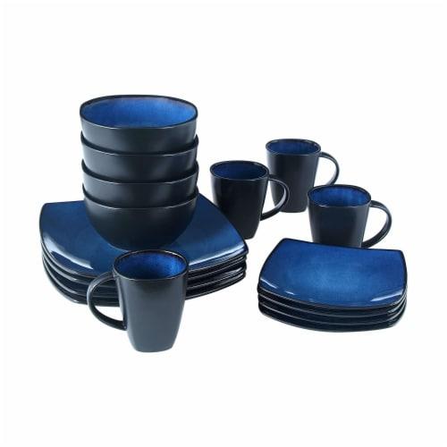 Gibson Elite Soho Lounge 16 Piece Plates, Bowls, & Mugs Dinnerware Set, Blue Perspective: top