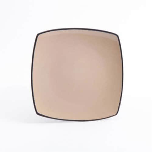 Gibson Soho Lounge 16 Piece Square Dinnerware Plates, Bowls, and Mugs Set, Taupe Perspective: top