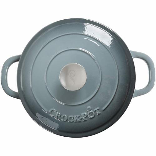 Gibson 7 qt Round Dutch Oven Crock Pot, Grey Perspective: top