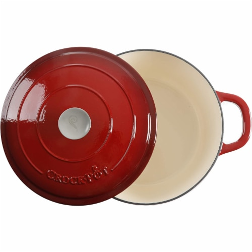 Crock-Pot 7 Quart Round Enamel Cast Iron Covered Dutch Oven Cooker, Scarlet Red Perspective: top