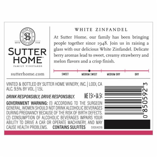 Sutter Home® White Zinfandel Blush Wine Perspective: top