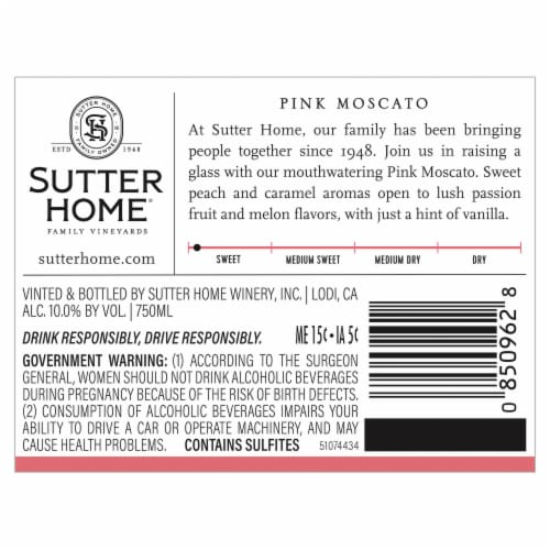 Sutter Home Pink Moscato Wine Perspective: top