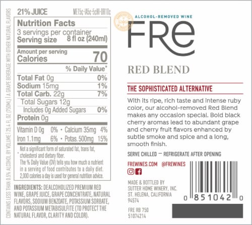FRE Alcohol-Removed Red Wine Blend Red Wine Perspective: top