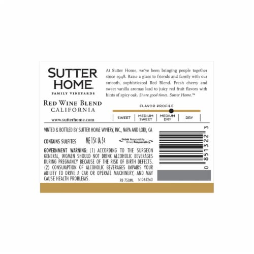 Sutter Home® Red Blend Red Wine Perspective: top