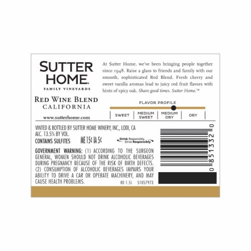 Sutter Home Red Blend Wine Perspective: top