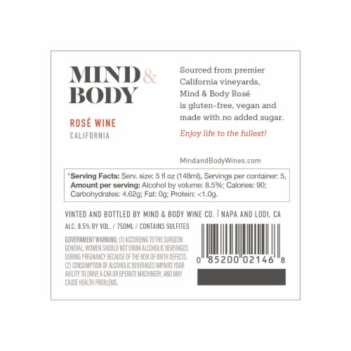 Mind & Body Low Calorie Rose Wine Perspective: top