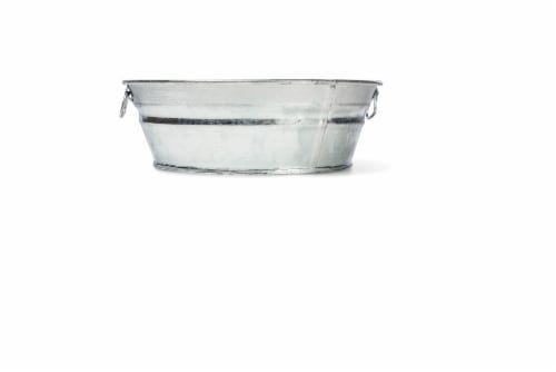 Behrens Hot Dipped Steel Low Flat Tub - Silver Perspective: top