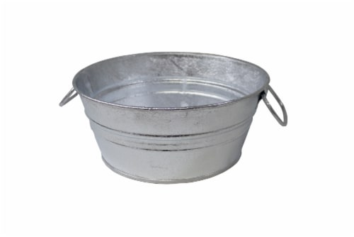 Behrens Hot Dipped Steel Mini Tub - Silver Perspective: top