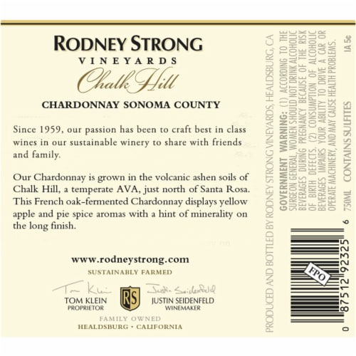 Rodney Strong Chalk Hill Chardonnay White Wine Perspective: top
