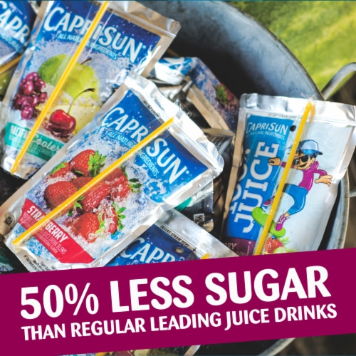 Capri Sun Roarin' Waters Berry Rapids Flavored Water Beverage Pouches 10 Count Perspective: top