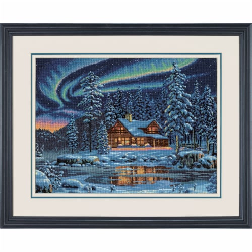 Dimensions® Aurora Cabin Counted Cross Stitch Kit Perspective: top