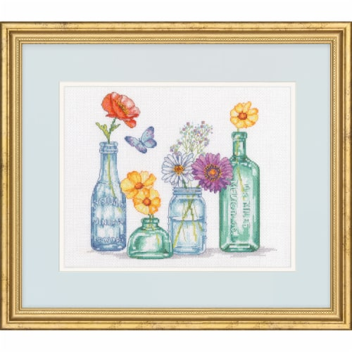 Dimensions® Wildflower Jars Counted Cross Stitch Kit Perspective: top