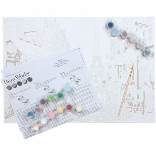 Dimensions® PaintWorks™ Paris Flower Shop Paint by Number Kit Perspective: top