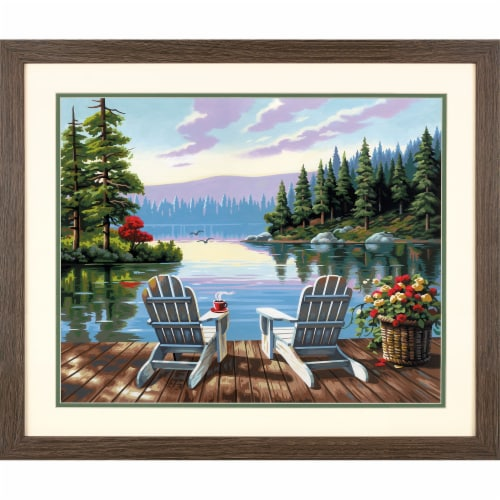 Dimensions® PaintWorks™ Lakeside Morning Paint by Number Kit Perspective: top