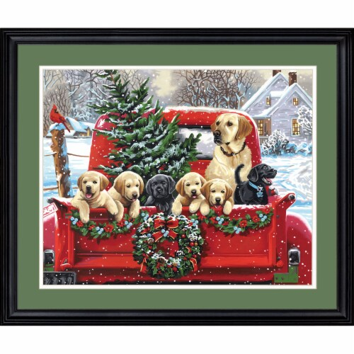 Dimensions® PaintWorks™ Holiday Puppy Truck Paint by Number Kit Perspective: top