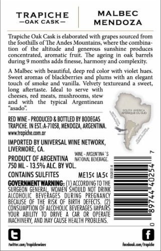 Trapiche Oak Cask Malbec Red Wine Perspective: top